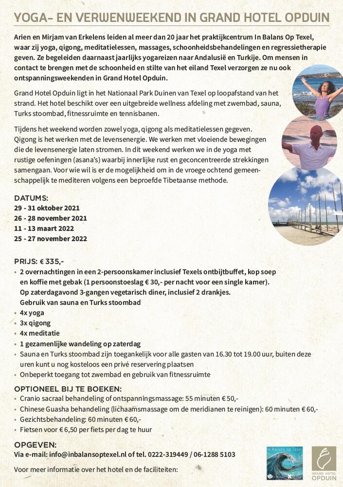 Yoga- verwenweekend Grandhotel Opduin